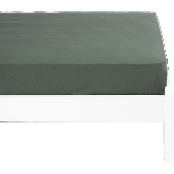 Drap housse lin lavé 90x170 cm vert cédre-VENCE
