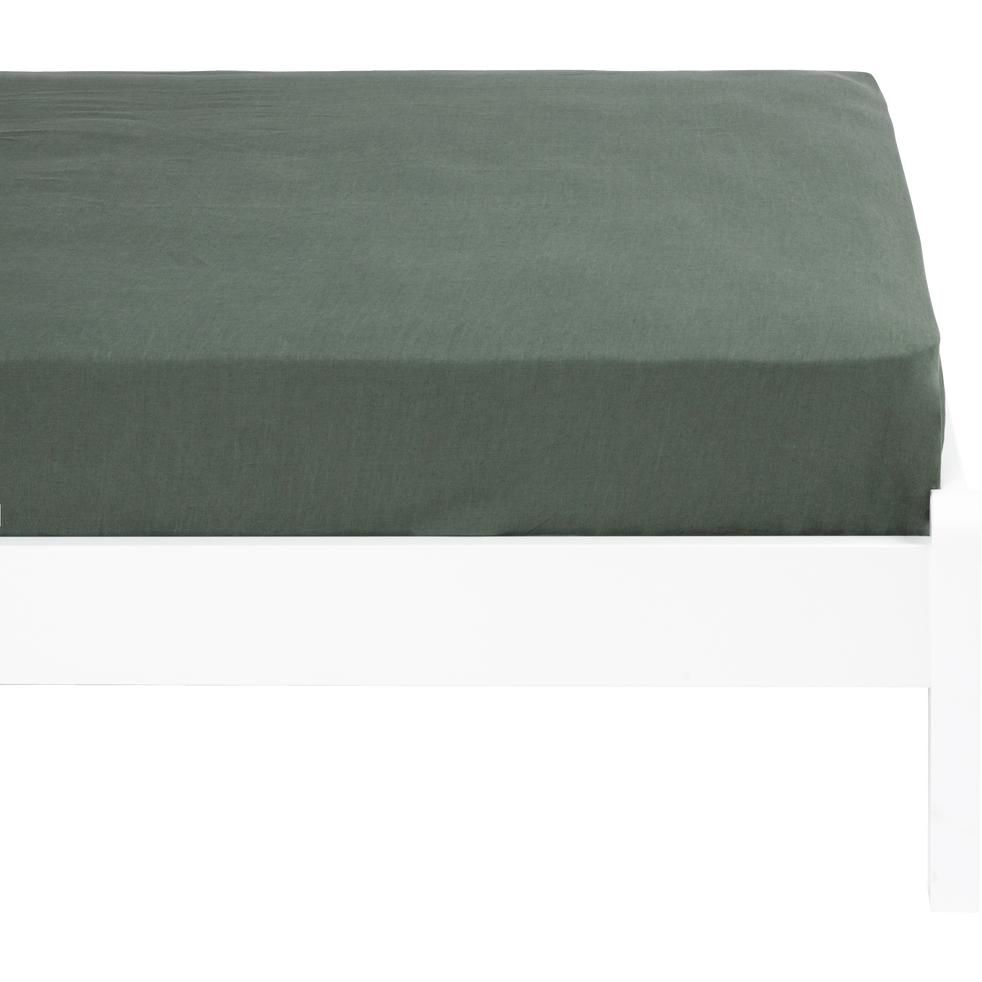 Drap housse en lin lavé vert cèdre 90x170cm-VENCE