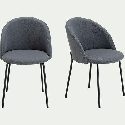 Chaise en tissu gris restanque - piétement en métal-FAUVETTE