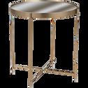 Table basse en métal doré avec plateau miroir-COBA