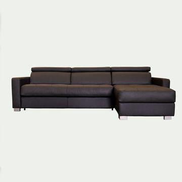 Canapé 4 places fixe en cuir avec angle reversible et accoudoir 15cm - marron-MAURO