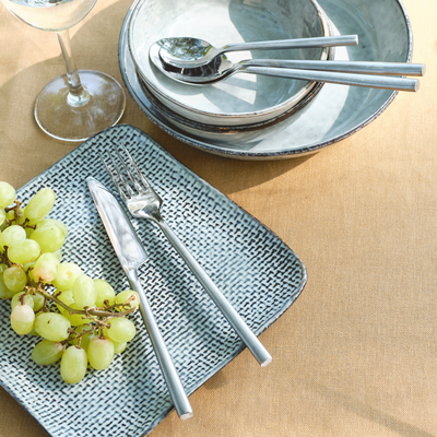 Assiette à dessert en grès gris effet texturé D20,5cm-LARGO