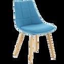 Chaise bleu turquoise avec piètement chêne-JOY