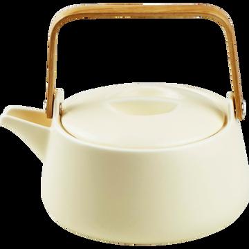 Théière en porcelaine beige mat et anse en bambou 1L-OSAKA
