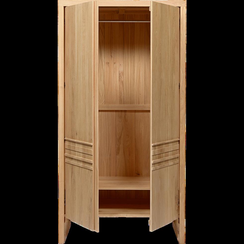 Armoire penderie 2 portes battantes en chêne massif-EMOTION