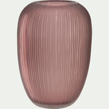 Vase en verre rose H26,5cm-TAGUN