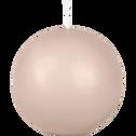 Bougie ronde rose grège D10cm-HALBA