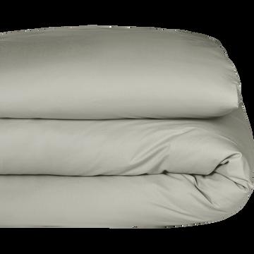 Housse de couette en percale de coton Vert olivier 260x240cm-FLORE