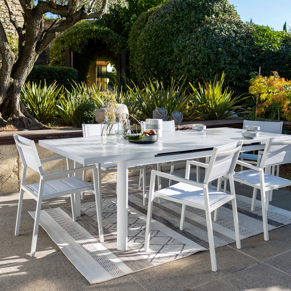 LORETO - Table de jardin extensible en aluminium blanc (10 places)