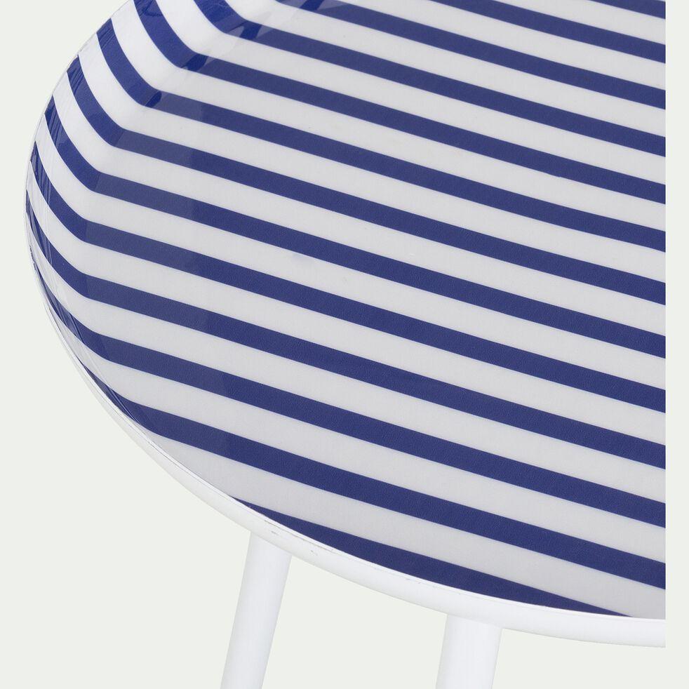 Bout de canapé en acier epoxy - bleu-VITOUR