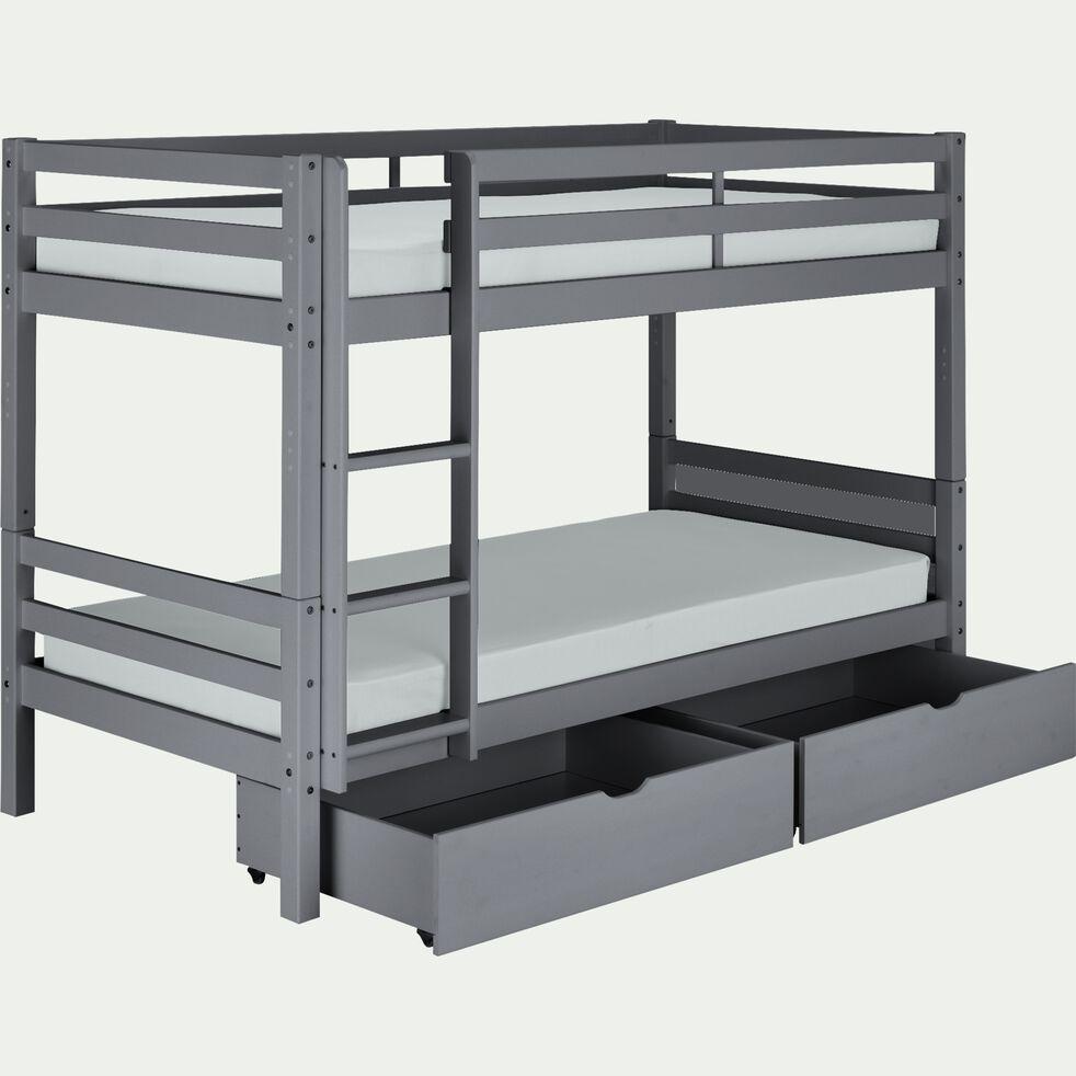 Lit superposé en bois 90x200cm avec sommier à lattes - gris-NORIS