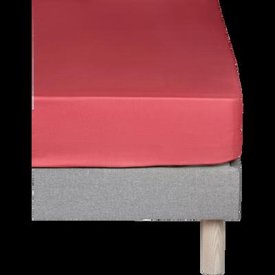 Drap housse en coton Rouge arbouse 90x200cm -bonnet 25cm-CALANQUES