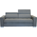 Canapé 3 places fixe en tissu gris clair-Mauro