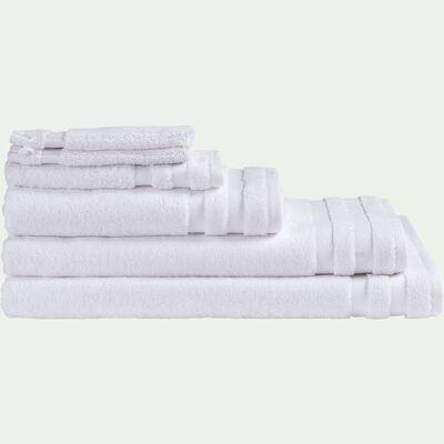 Lot de 2 serviettes invité qualité hôtelière en coton - blanc 30x50cm-Riviera