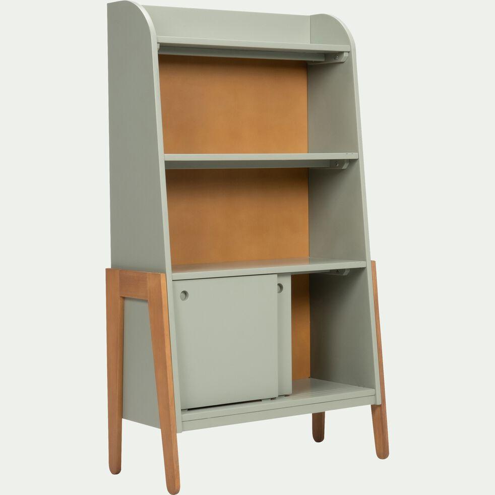 Bibliothèque en acacia pour enfant - vert olivier-RAPHAEL
