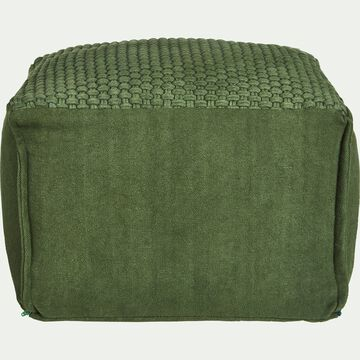 Pouf cubique en coton - vert cèdre D47xH33cm-ASTON