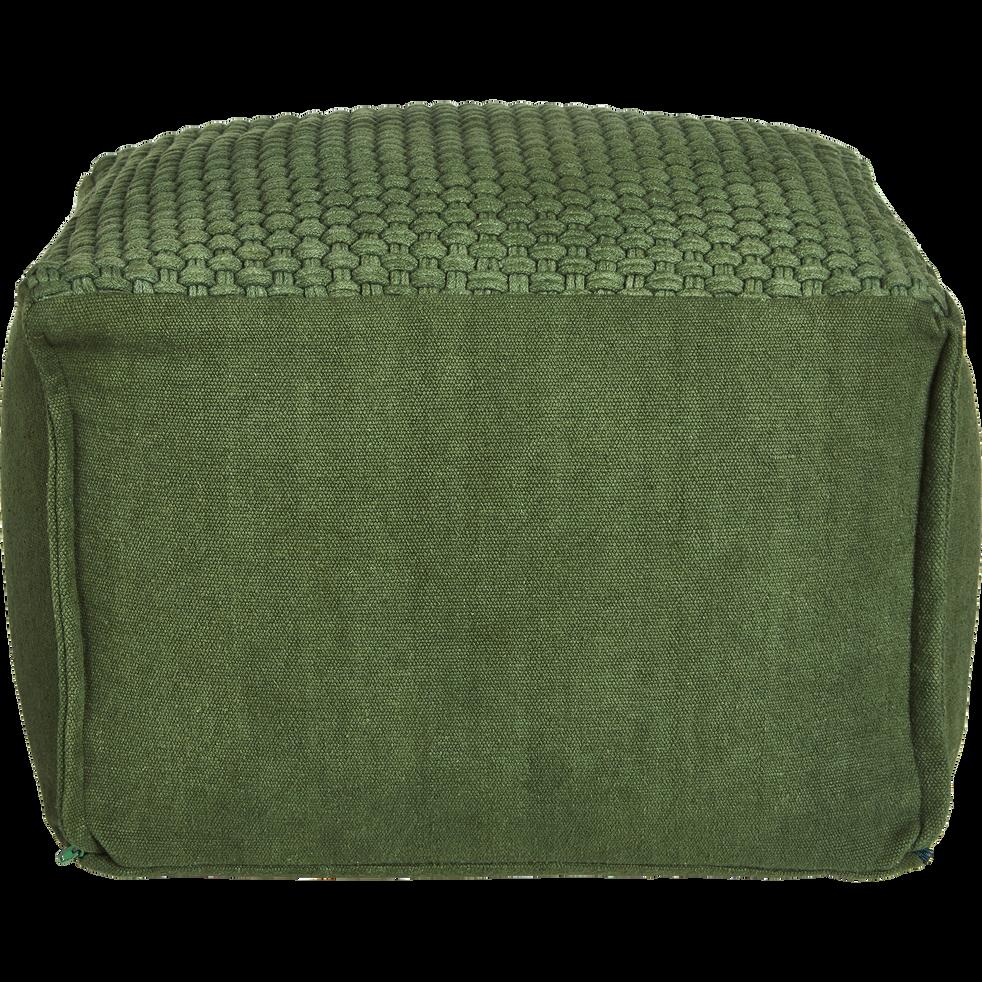 Pouf carré en coton vert cèdre 47x47x33cm-ASTON