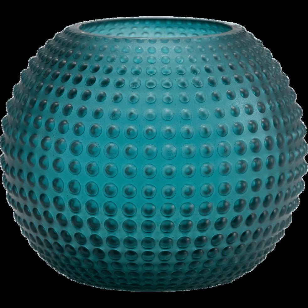Vase en verre vert H13cm-CAMELIA