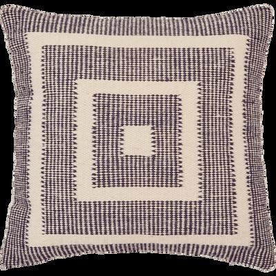 Coussin laine et coton 45x45 cm noir & écru-YOUSS