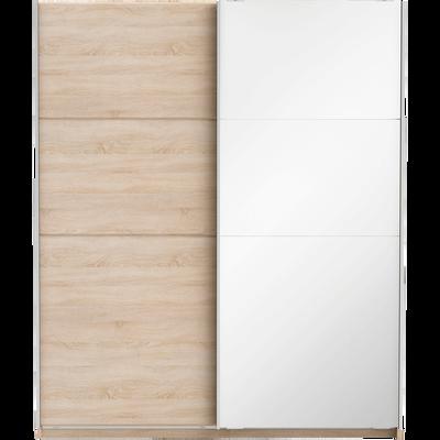 Armoire 2 portes coulissantes effet chêne brossé-SLIDY