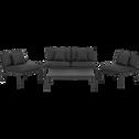 Salon de jardin en acier - gris (4 places)-SYRACUSE