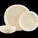 Assiette plate en faïence jaune pâle D27cm-CAMELIA