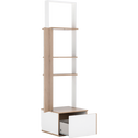 Module armoire avec 1 porte miroir et 1 tiroir effet chêne - blanc-NESTOR