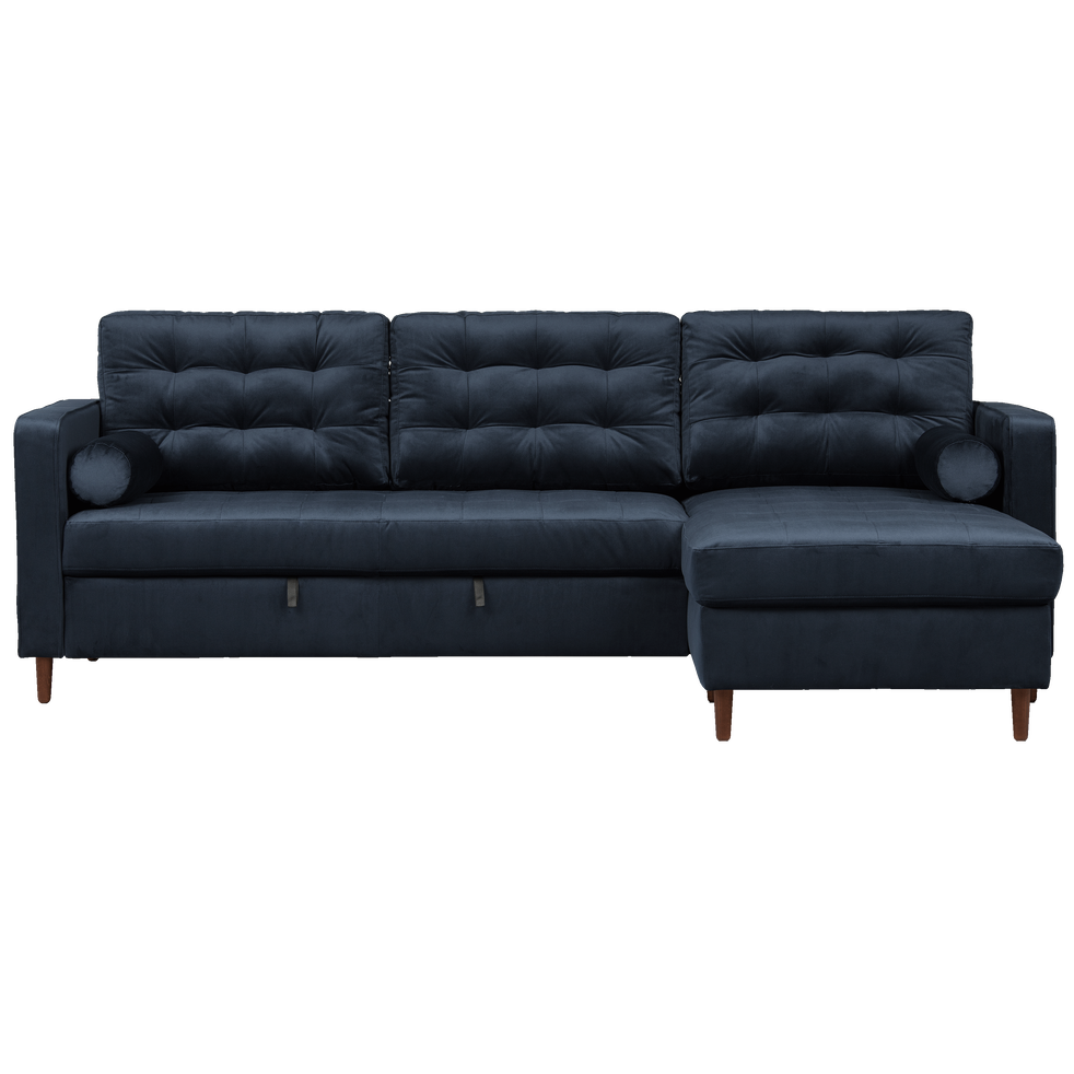 canap d 39 angle convertible r versible en velours bleu myrte romeo canap s en tissu alinea. Black Bedroom Furniture Sets. Home Design Ideas