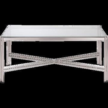 Table basse rectangulaire en verre et acier-VIROLO