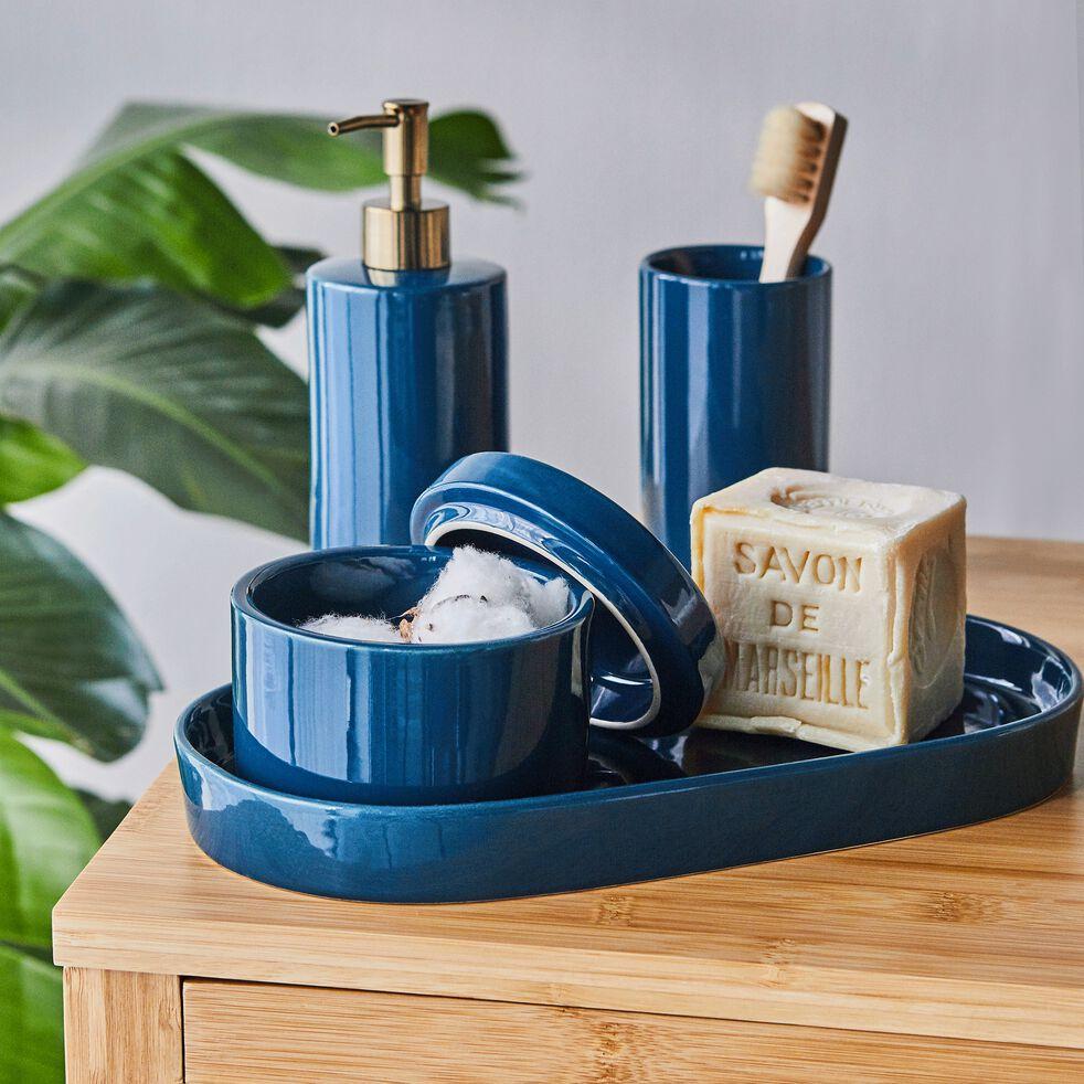 Porte-savon en grès - bleu myrte L30,5cm-PROSPER