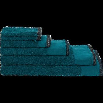 Linge de toilette coton et lin bleu niolon-ADONI