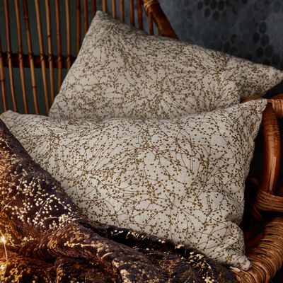 Coussin en coton et lin à motifs dorés 40x40cm-GINKO