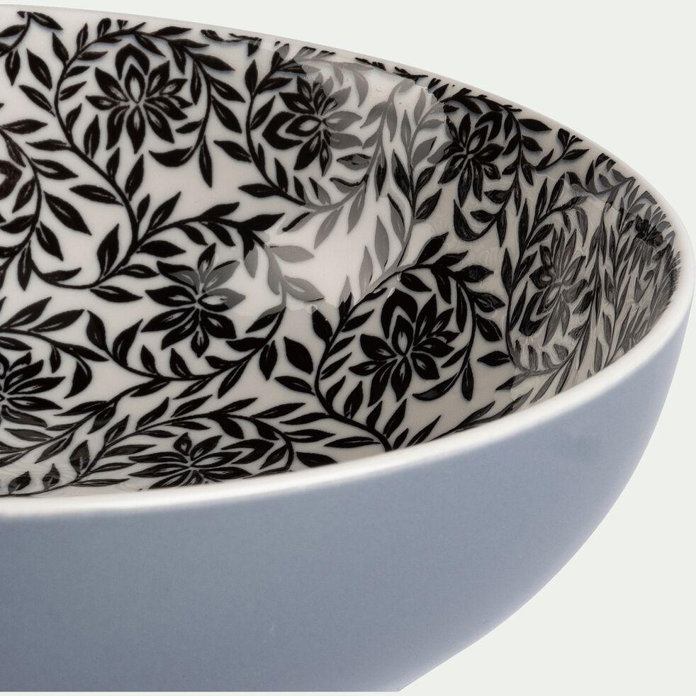 Assiette creuse en porcelaine motifs jasmin - gris D21cm-AIX