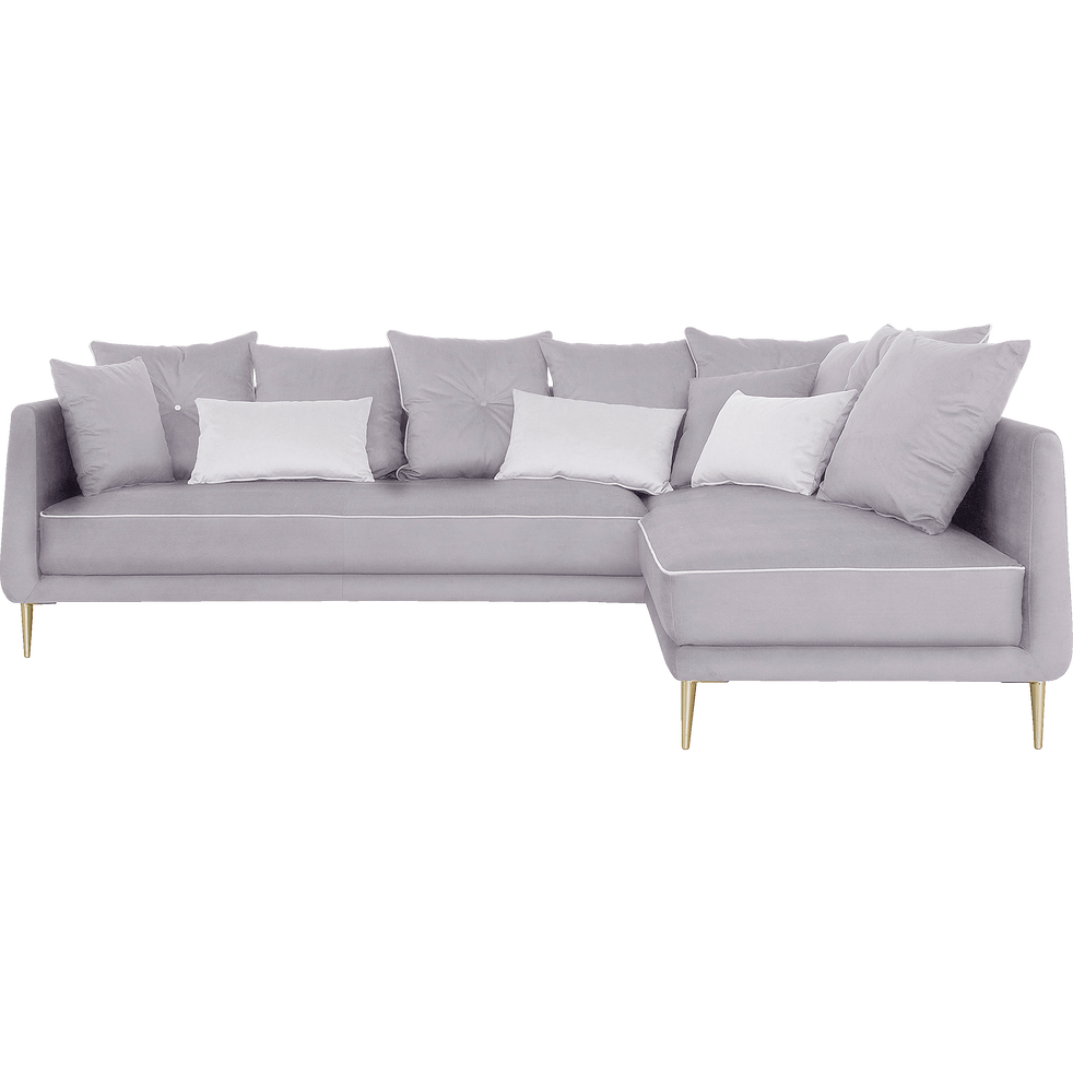 canap d 39 angle fixe droit en tissu gris borie astello. Black Bedroom Furniture Sets. Home Design Ideas
