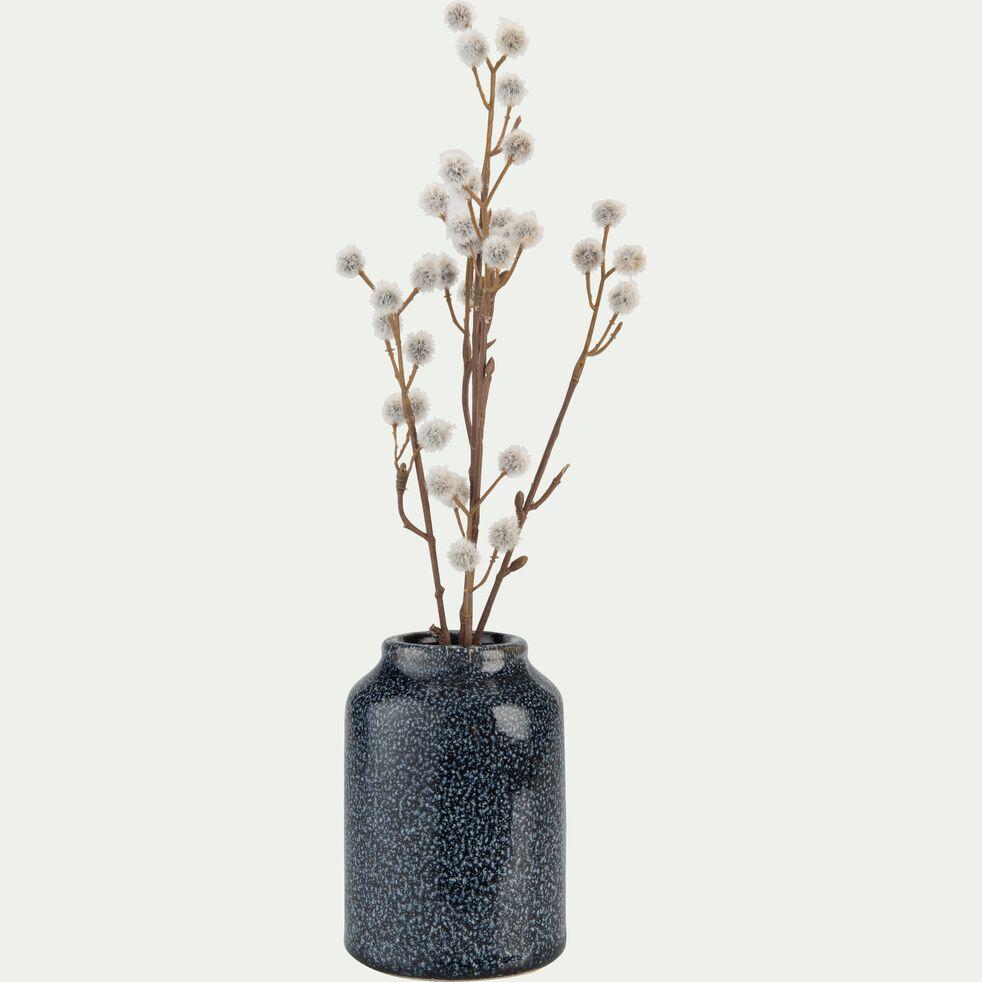 Vase en céramique noir tacheté bleu H12 cm-OASIS