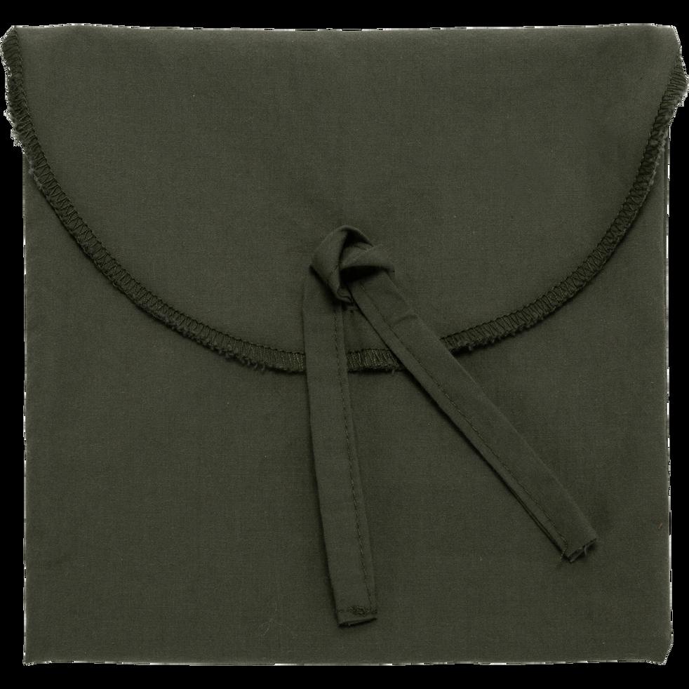 Taie d'oreiller en percale coton lavé 35x45cm vert cèdre-PALOMA