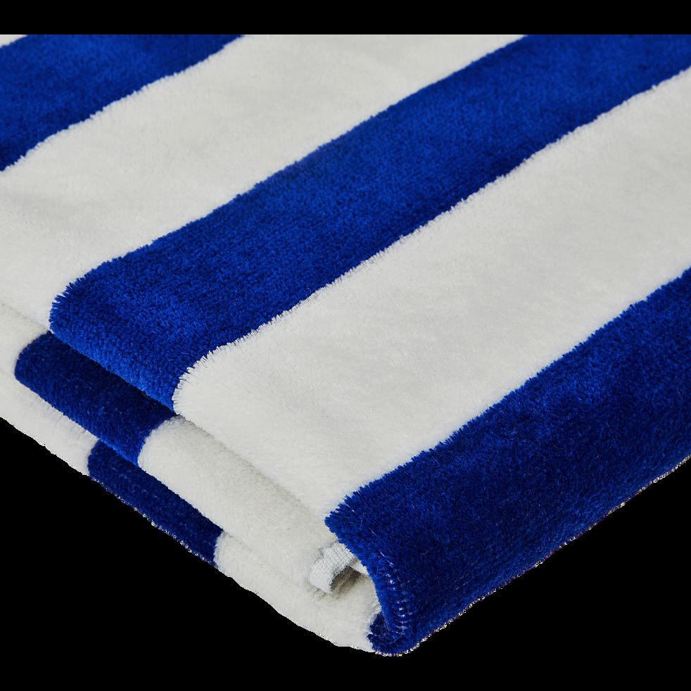 Serviette de plage rayée bleu 100x180cm-ESTORIL