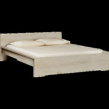 Lit 2 places avec tête de lit cerisier blanchi - 160x200 cm-BROOKLYN