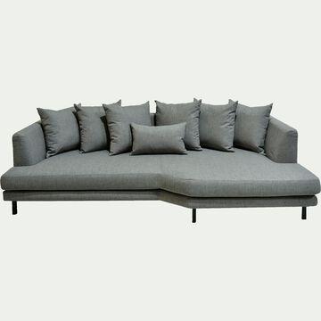 Canapé 5 places fixe droit en tissu gris restanque-TESSOUN