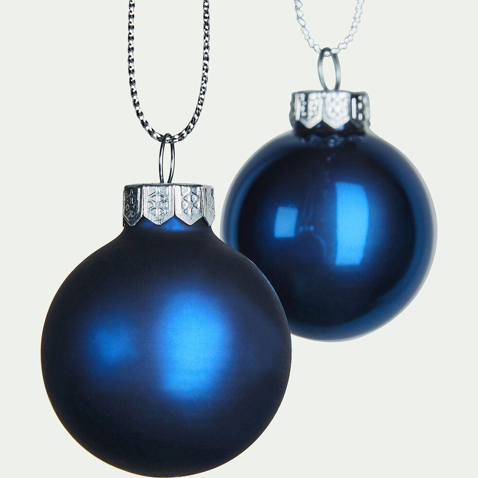 Lot de boules en verre bleues 16pièces D3,5cm-fourche
