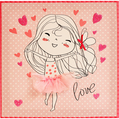 Toile décorative rose à motifs 30x30cm pour enfant-LILI