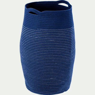 Panier à linge en coton - bleu figuerolles H65xD35cm-Vincent