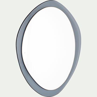 Miroir abstrait en bois - bleu calaluna 40x41cm-ACOIRA