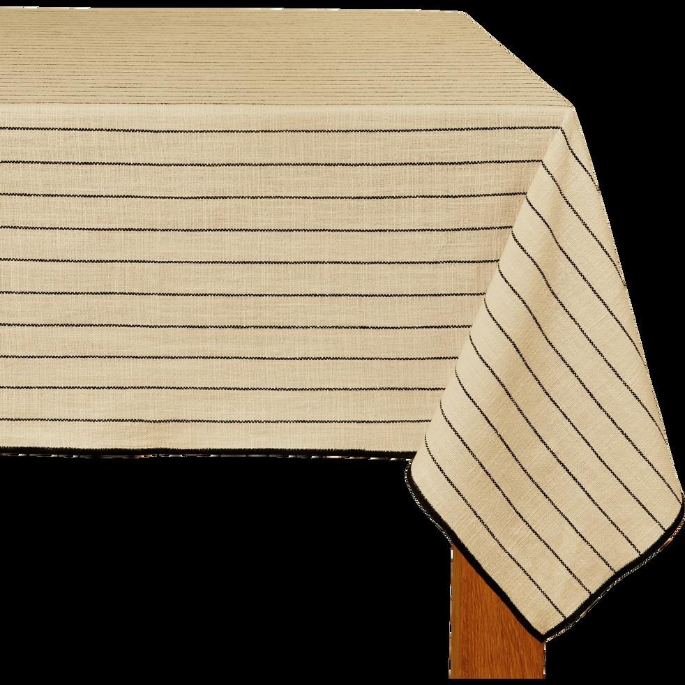 Nappe en coton blanc et noir 170x250cm-BADIANE
