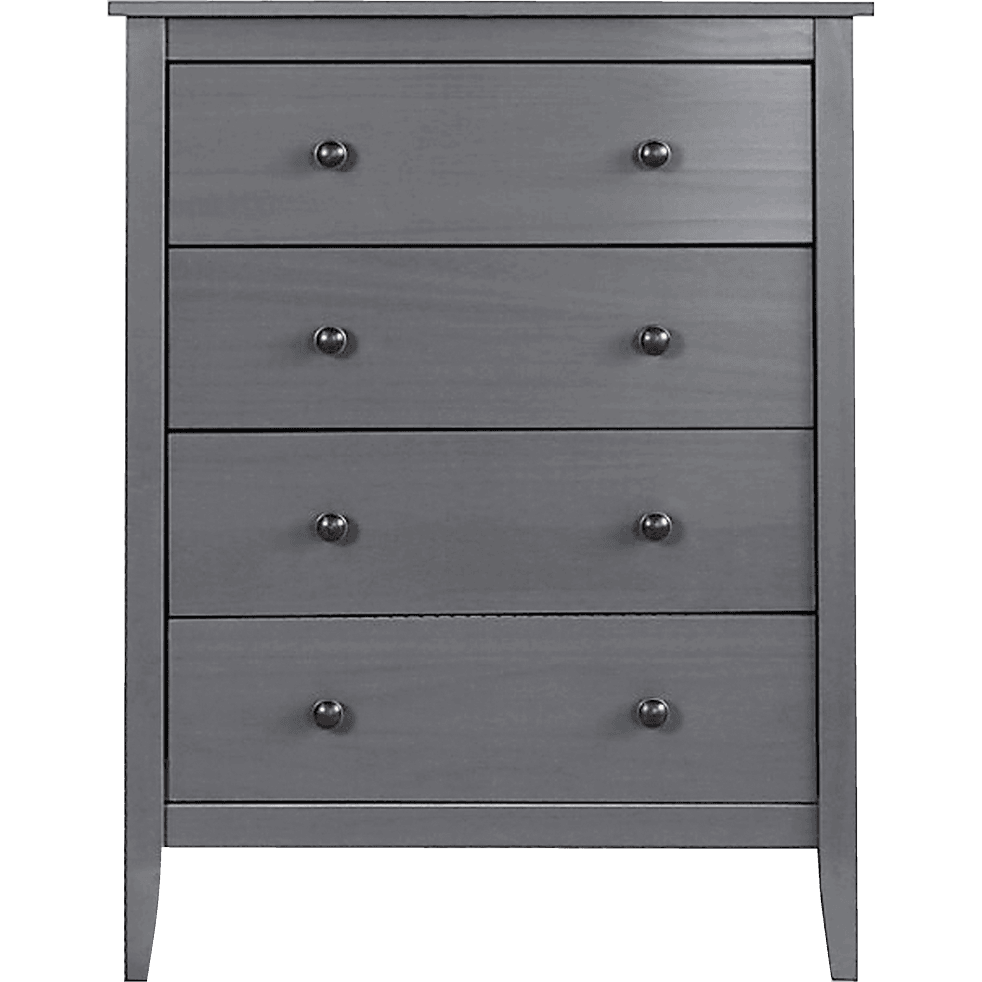 Commode 4 tiroirs en pin massif Gris anthracite-LISON