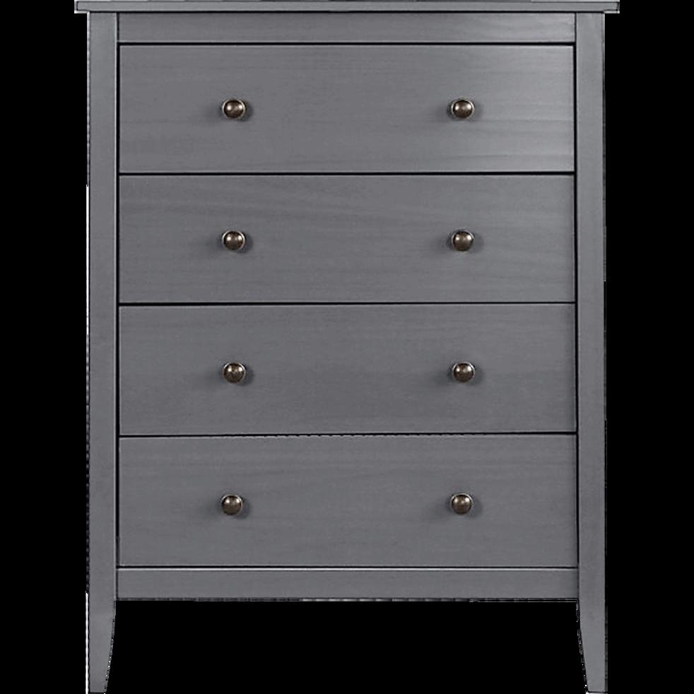 commode 4 tiroirs en pin massif gris anthracite lison. Black Bedroom Furniture Sets. Home Design Ideas