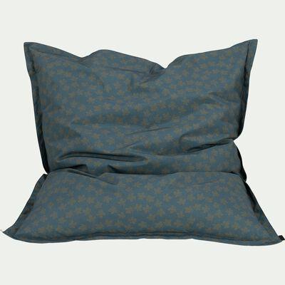 Pouf d'extérieur bleu figuerolles à motifs 150x130cm-Varenne