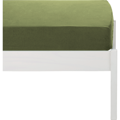 Drap housse en coton lavé vert guarrigue 90x140 cm-CALANQUES