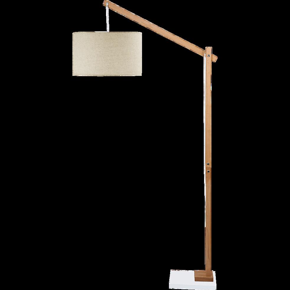 PETRUS - Lampadaire en bois et coton H180cm
