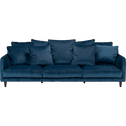 Canapé 6 places fixe en velours bleu figuerolles-LENITA
